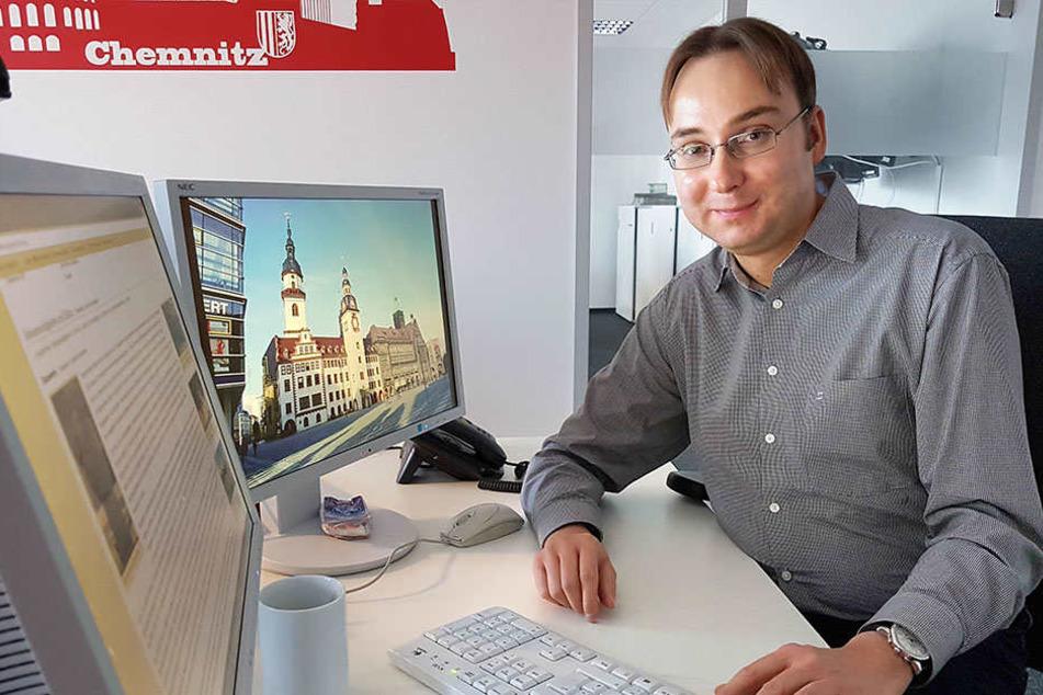Stadthistoriker Sandro S. (38) bearbeitet seit zwei Jahren  schrittweise den Wikipedia-Auftritt der Stadt.