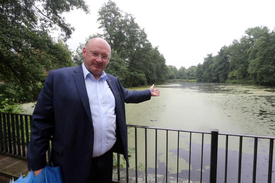 """Der """"Lange Teich"""" soll zugeschüttet werden. CDU-Mann Gerald Otto möchte das verhindern."""