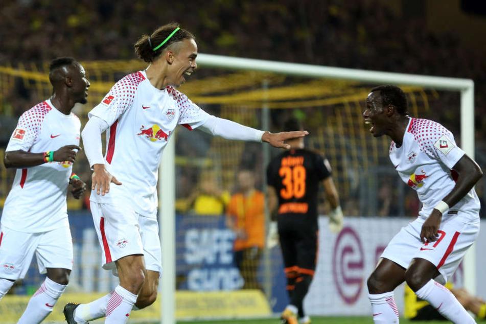 In der Hinrunde gab es für die Roten Bullen (v.l.n.r. Naby Keita, Yussuf Poulsen, Bruma) beim 3:2 in Dortmund gleich dreimal Grund zur Freude.