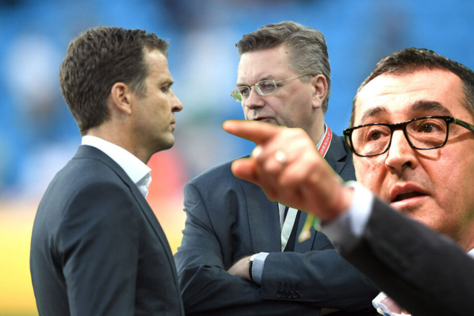 """Cem Özdemir wirft den DFB-Herren Bierhoff und Grindel """"verbandsinterne Feigheit"""" vor. (Bildmontage)"""