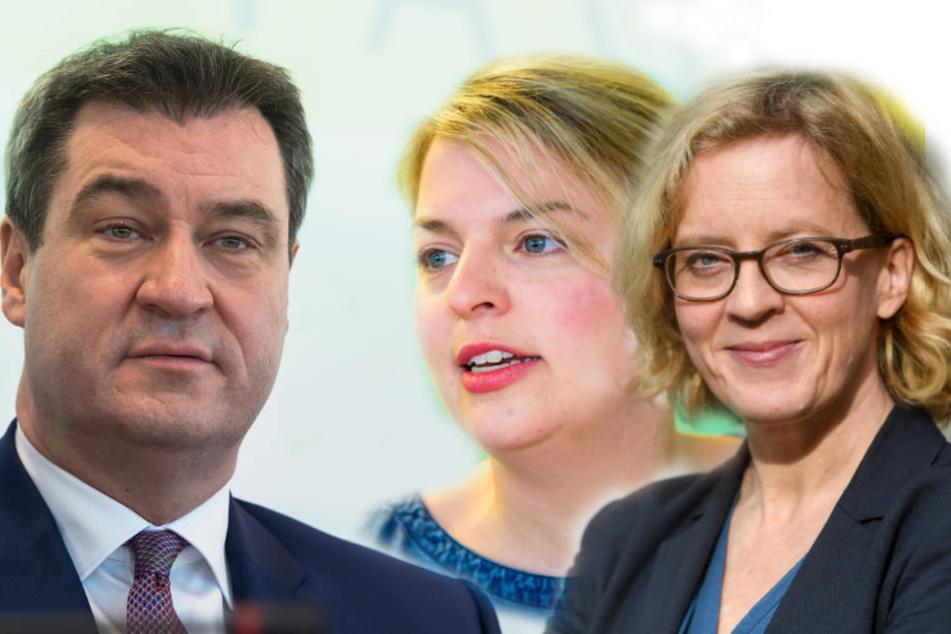 Markus Söder (51, CSU) und die Spitzenkandidaten der Grünen Katharina Schulze (33) und der SPD Natascha Kohnen (50).