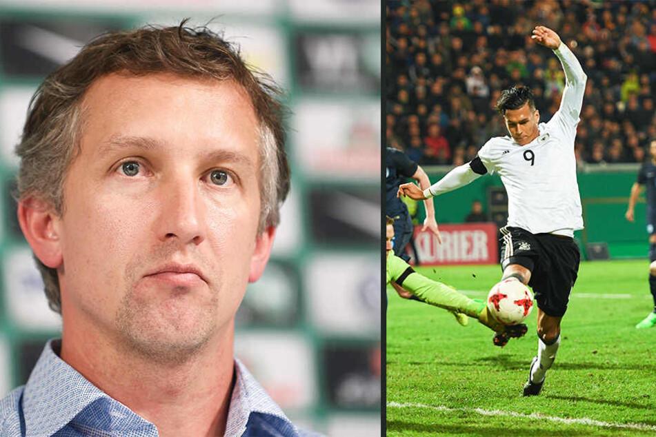 Werder Bremen- Manager Frank Baumann möchte Davie Selke (22) wieder zurück in seinen Verein holen.