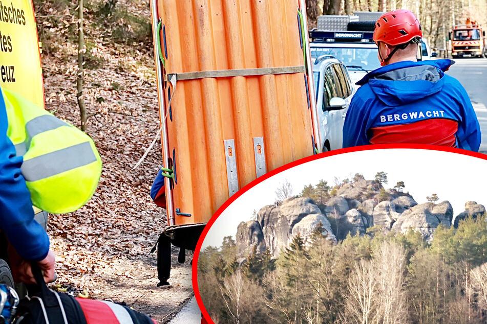 Kletterunfall: Ersthelfer retten 84-Jährigen nach Absturz in Sächsischer Schweiz