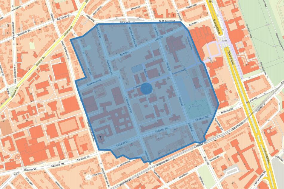 Die blaue markierte Fläche muss für die Entschärfung evakuiert werden.