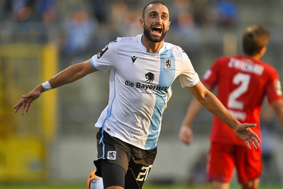 TSV-Kicker Efkan Bekiroglu erzielte einen Doppelpack für 1860 München.