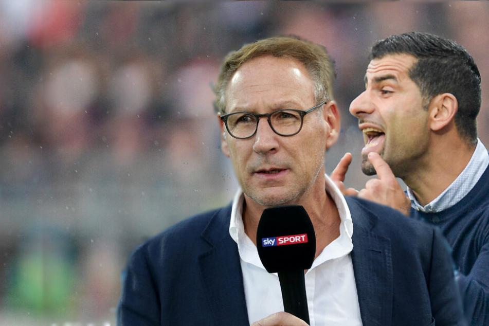 """Lilien-Präsident Fritsch (li.) sieht in Sachen Vertrags-Verlängerung von Coach Dimitrios Grammozis (re.) alles """"im grünen Bereich""""."""