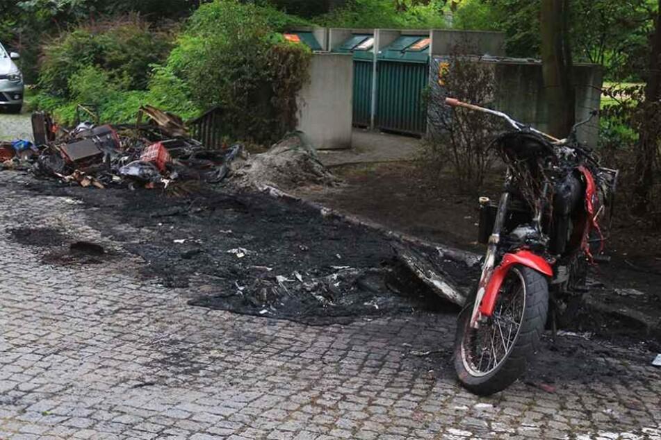Der Vonovia-Transporter wurde von der Polizei schon sicher gestellt. Daneben  brannte auch Mülltonne mit Unrat aus.