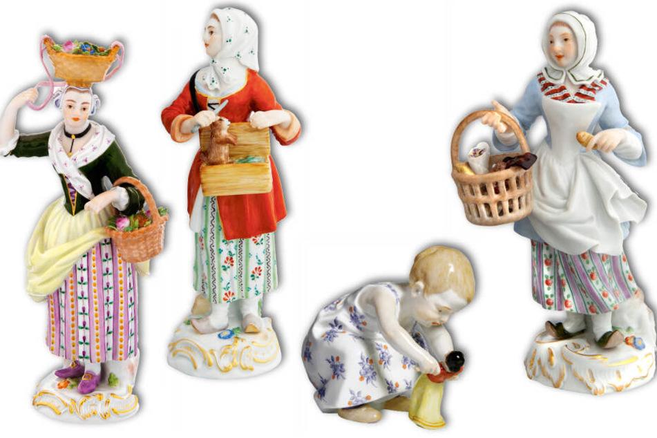 Diese Porzellanfiguren verschwanden aus den Verkaufs-Vitrinen: Die Frau mit zwei Körben, die Frau mit dem Murmeltier, Kind mit Puppe und die Gebäckverkäuferin. Sie tauchten bis heute nicht wieder auf.