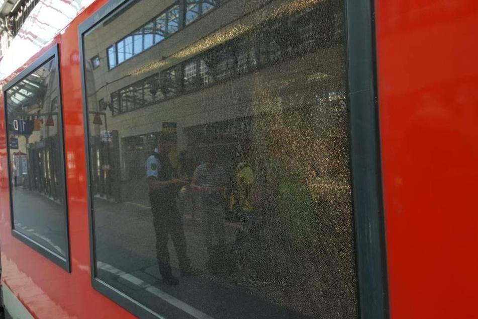 Die Scheibe der Regionalbahn wurde komplett zerstört.
