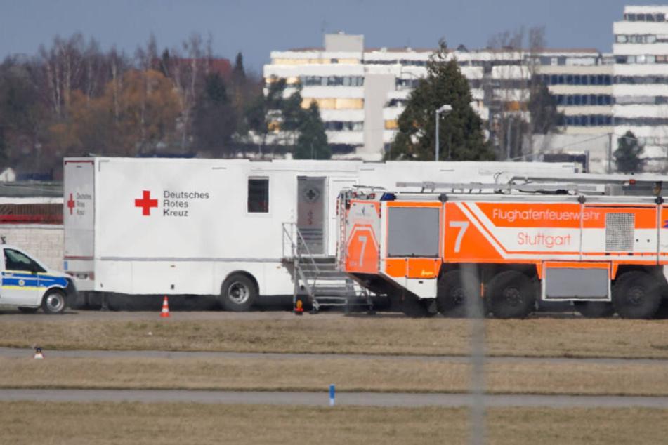 Das Deutsche Rote Kreuz war auch am Flughafen vor Ort.
