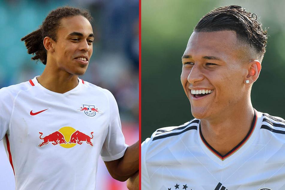 Müssen in Zukunft aufeinander verzichten: RB Leipzigs Yussuf Poulsen und Neu-Berliner Davie Selke (beide 22)