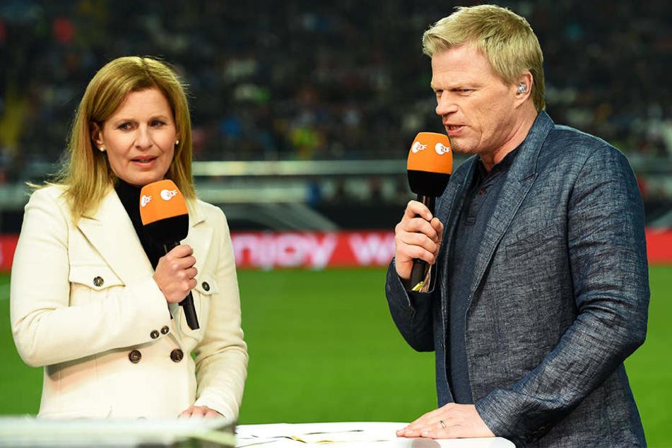 Oliver Kahn (r.) stand Katrin Müller-Hohenstein im aktuellen Sportstudio Rede und Antwort.
