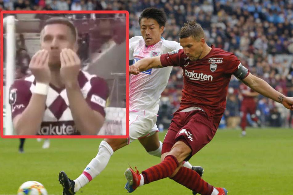 """Lukas Podolski knipst drei Tore: Dann jubelt er den """"Döner-Move""""!"""