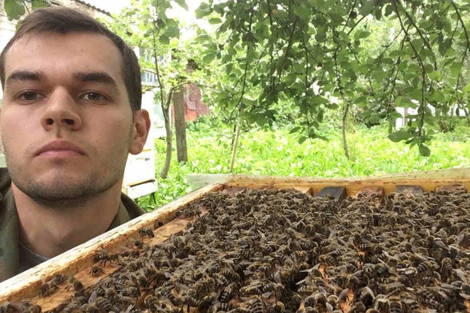 Hobby-Imker Michail Alexandrow neben einem seiner Bienenstöcke.