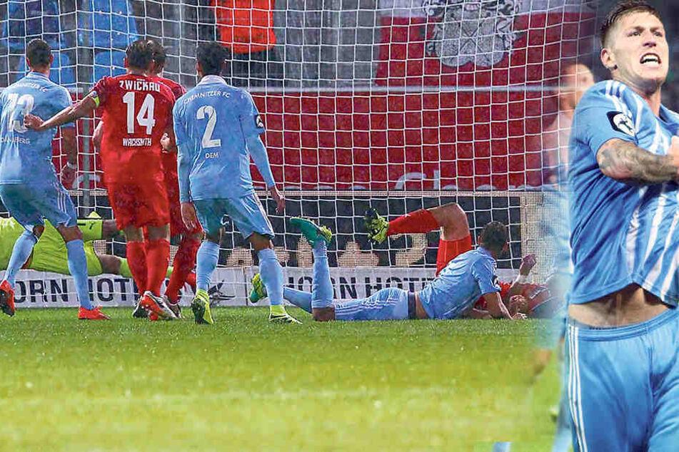 FSV-Keeper Johannes Brinkies hielt lange Zeit die Null fest. Hier kratzt er einen Kopfball von Marc Endres (am Boden) von der Linie.