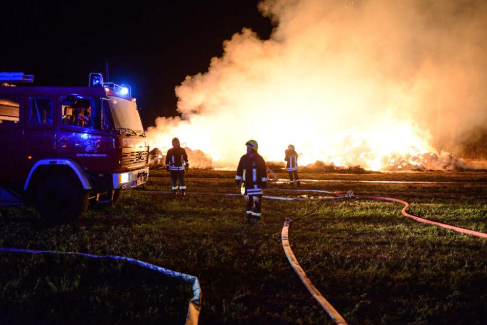 Nahe einem Waldstück bei Barnewitz im Havelland sind in der Nacht zu Freitag über 1000 Strohballen in Brand geraten.