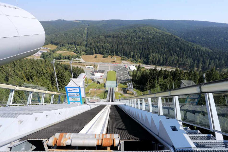 Blick von der Großschanze in Klingenthal.