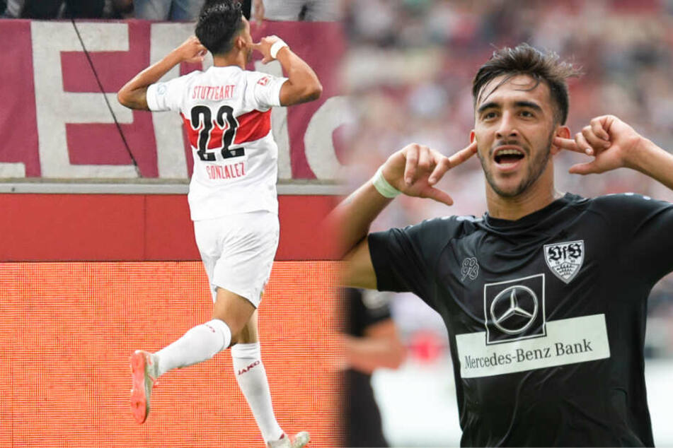 VfB-Stürmer Nicolás González bejubelt seine beiden Siegtreffer gegen den VfL Bochum (links im Bild) und den FC St. Pauli. (Fotomontage)