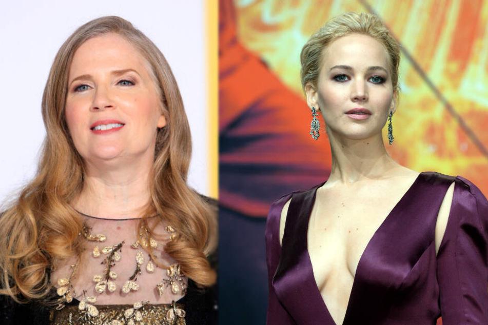 Autorin Suzanne Collins (links) schrieb mit ihren Büchern die Vorlage für die Filme, in denen Jennifer Lawrence die Hauptrolle spielte.