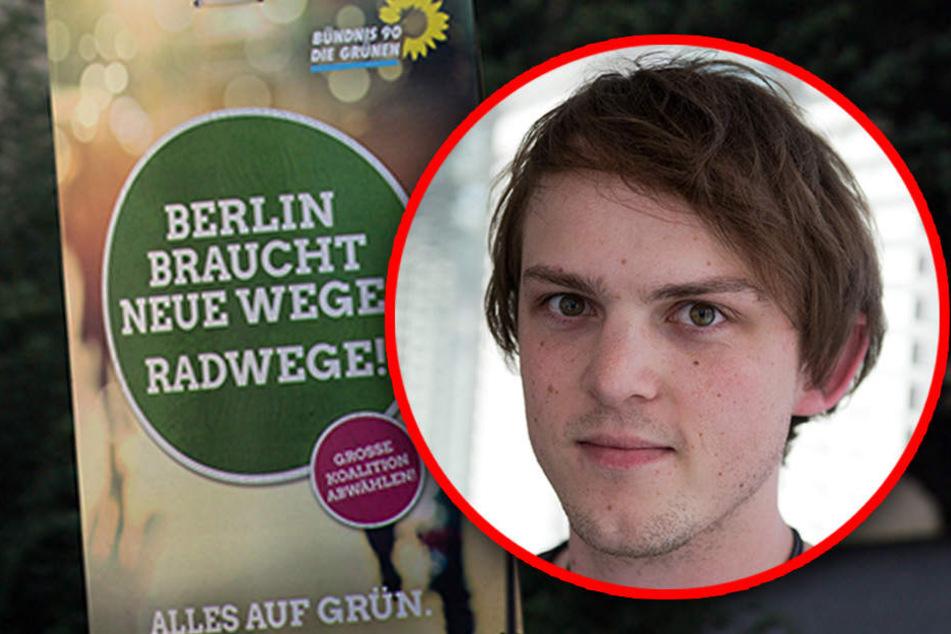 Marquardt ist Direktkandidat der Grünen für den Bundestag. Bei Plakate anbringen wurde er bedroht. (Bildmontage)