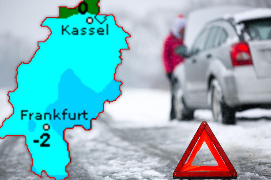In Hessen kommt es gebietsweise wieder zu Straßenglätte (Symbolbild).