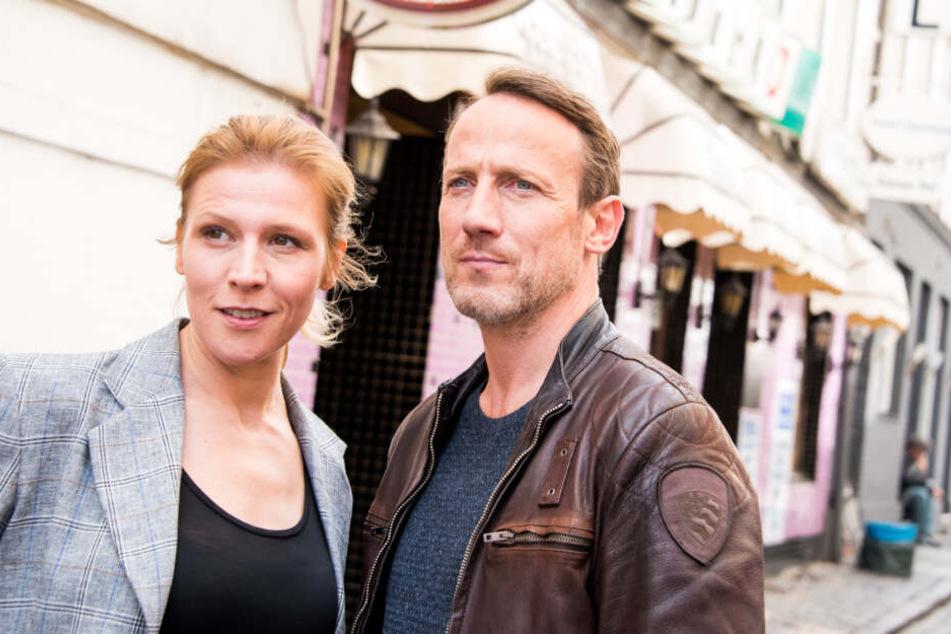 Franziska Weisz und Wotan Wilke Möhring bei den Dreharbeiten in Hamburg