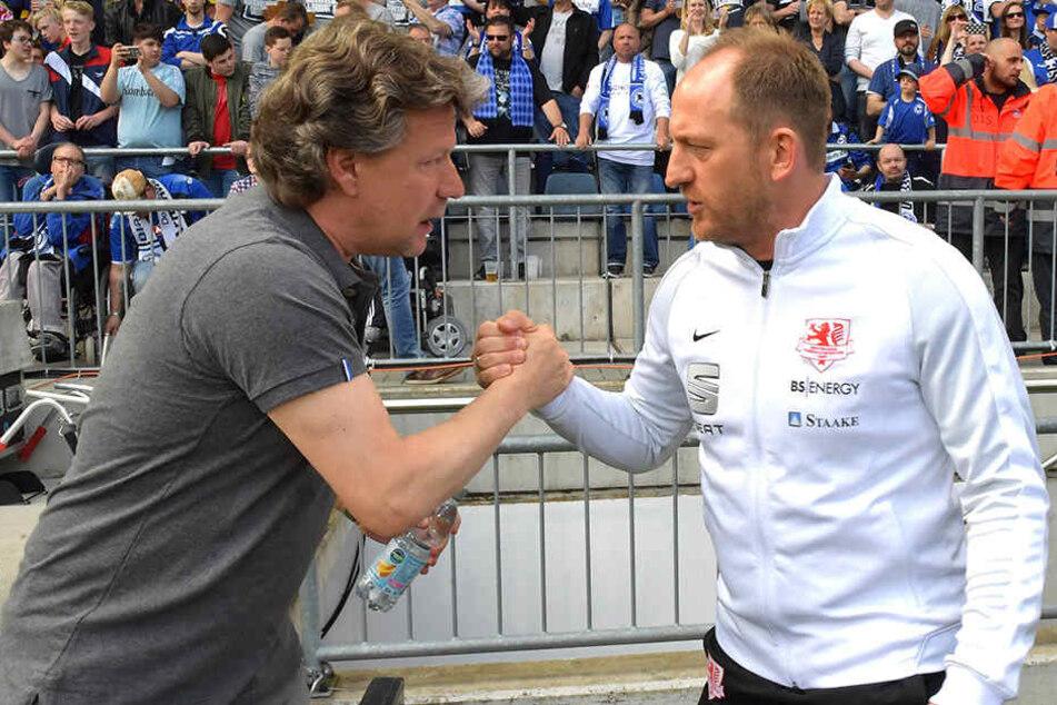 Standen sich in der letzten Saison schon gegenüber: DSC-Trainer Jeff Saibene (li.) und Torsten Lieberknecht aus Braunschweig.
