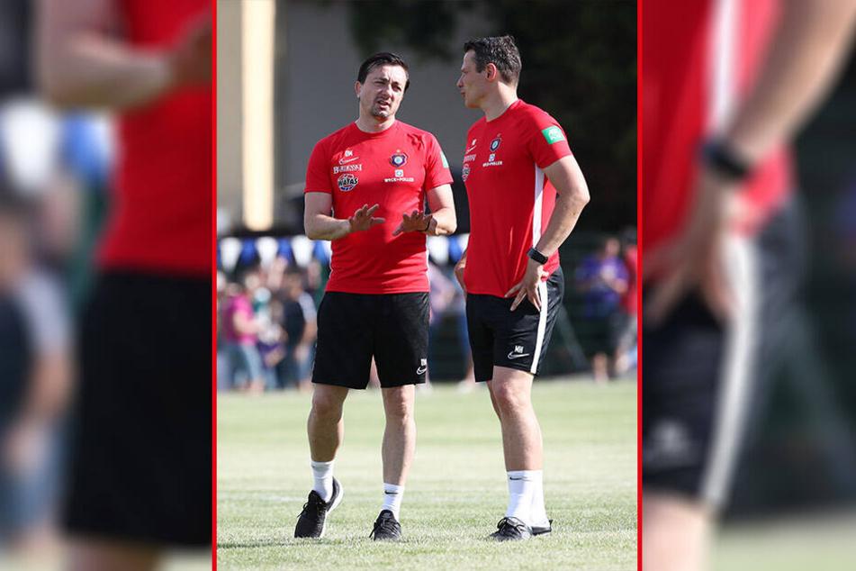 FCE-Coach Daniel Meyer (l.) bekommt am heutigen Donnerstag einen neuen Abwehrmann, dessen Name ist noch geheim.