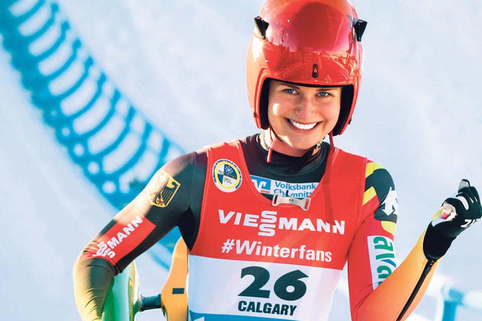 Julia Taubitz ballte im Ziel nach zwei Läufen den Faust. Das sie ihren ersten Weltcup ausgerechnet in Calgary gewinnt, hätte die Oberwiesenthalerin nie gedacht.
