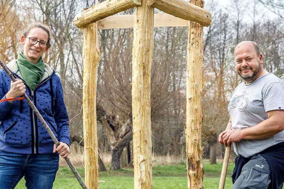 Dresdens Grünen-Chefin Susanne Krause (36) und Neumitglied Knut-Ivo Schulz (54).