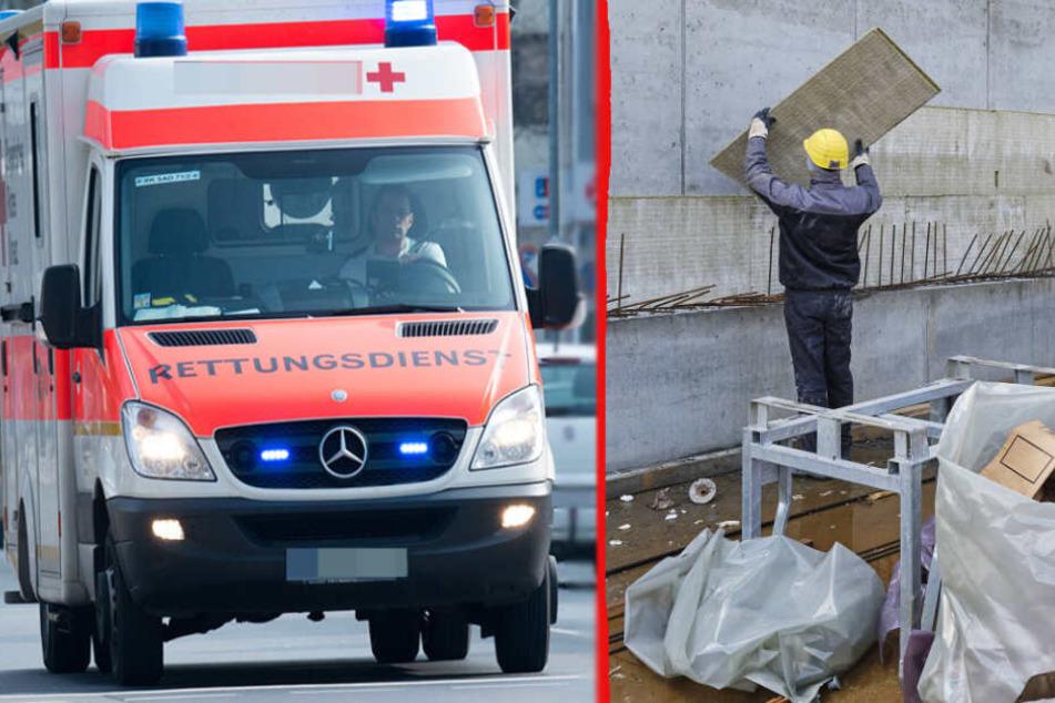 Arbeiter unter mehreren Betonplatten eingeklemmt und schwer verletzt
