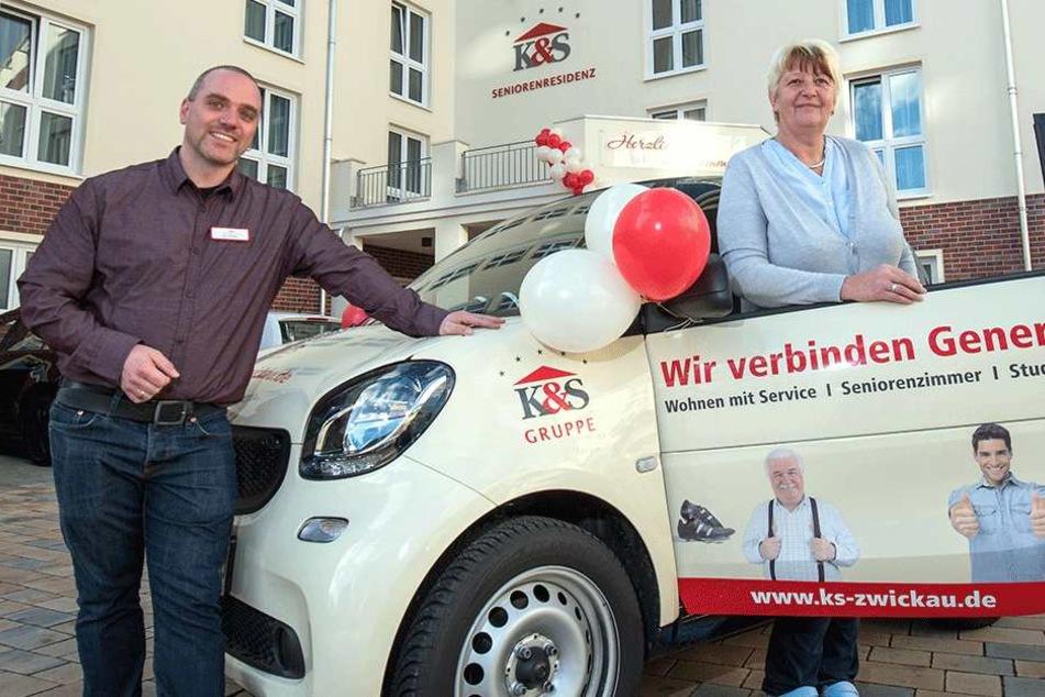 Jan Hempel (39) vom Pflegedienst der Tagespflege und Romy Köhler (52), die Leiterin der Tagespflege.