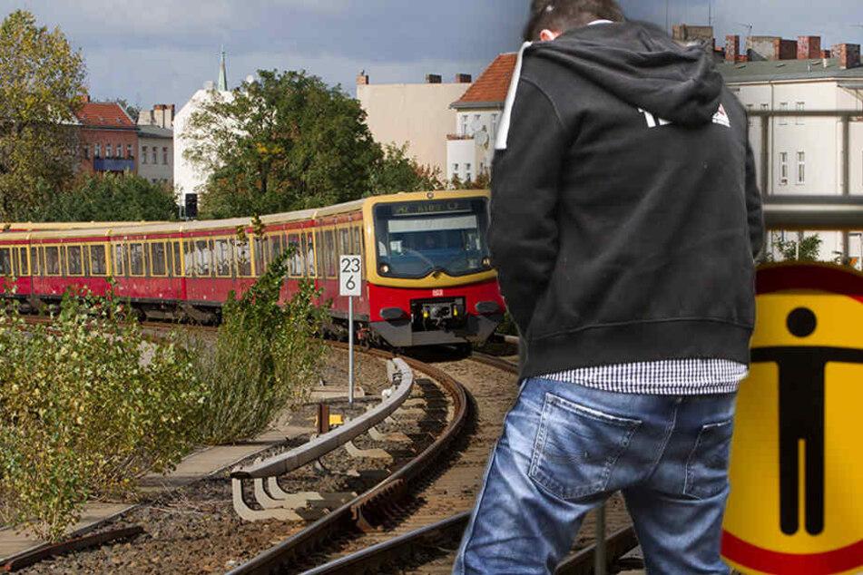 Keine Toilette in Sicht, so wird kurzerhand aufs Gleis gemacht. (Bildmontage)