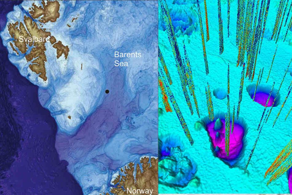 Die Computergrafik zeigt das Gebiet, in dem Forscher der norwegischen Universität Tromsø am Grund der Barentssee zwischen Spitzbergen und Norwegen zahllose trichterförmige Vertiefungen fanden.