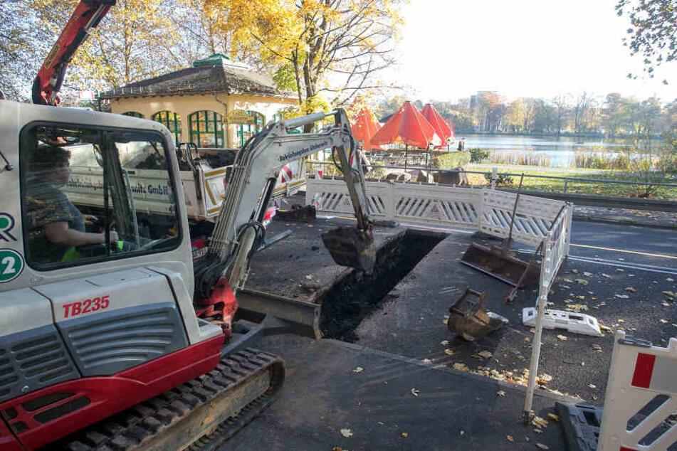 An der Schlossteichstraße werden seit dieser Woche Wasserleitungen für den Pavillon verlegt.