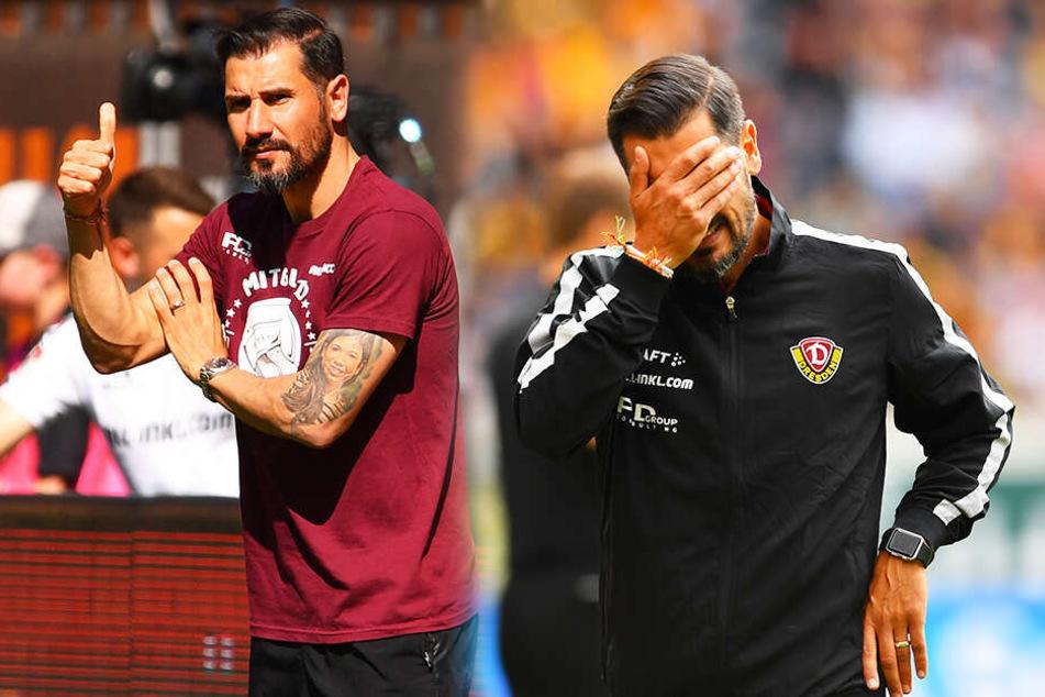 Mal Daumen hoch, mal fassungslos die Hand vorm Gesicht - Cristian Fiel erlebte in seinen elf Partien als offizieller Dynamo-Cheftrainer eine Achterbahnfahrt der Gefühle.