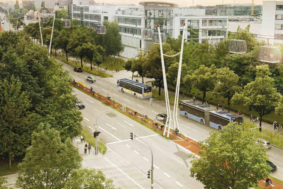 In München könnte geprüft werden, ob Seilbahnen teilweise Busse ersetzen können.