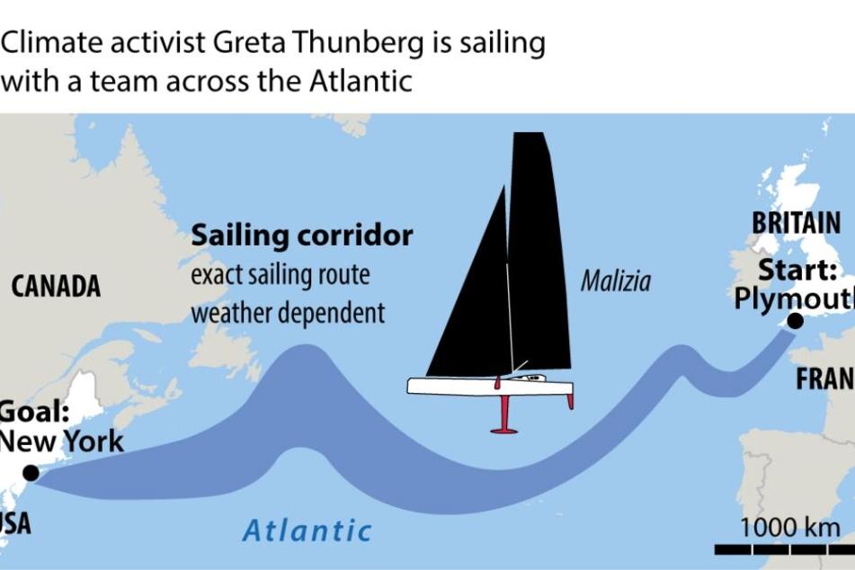 Das ist die Route, die Greta über den Atlantik segelt.