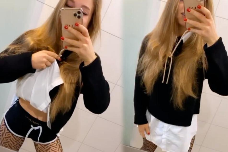 Ätsch! Lola Weippert (23) macht ihre Fans erst ganz wuschig und will zeigen, was sie drunterträgt. Die kurze Sporthose dürfte für viele eine Enttäuschung sein. (Fotomontage)