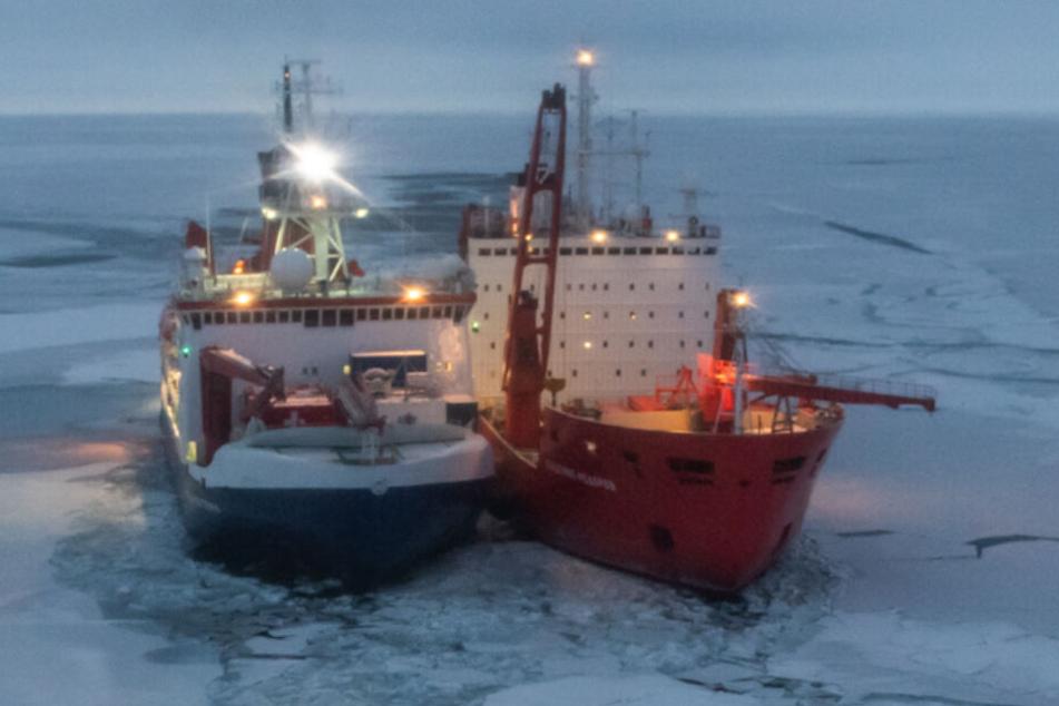 Ein russischer Eisbrecher liegt neben der Polarstern.