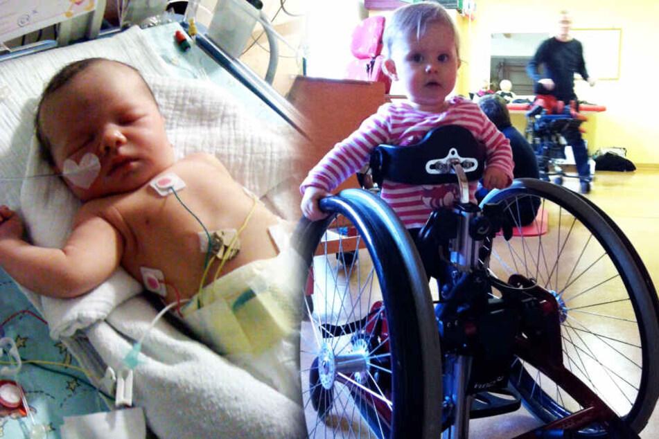 Der ärztlichen Kunst und moderner Technik ist es zu verdanken, dass Anna-Lena nach der Geburt stabilisiert werden konnte. Mit dem Rollstuhl übte sie das Stehen und Gehen.