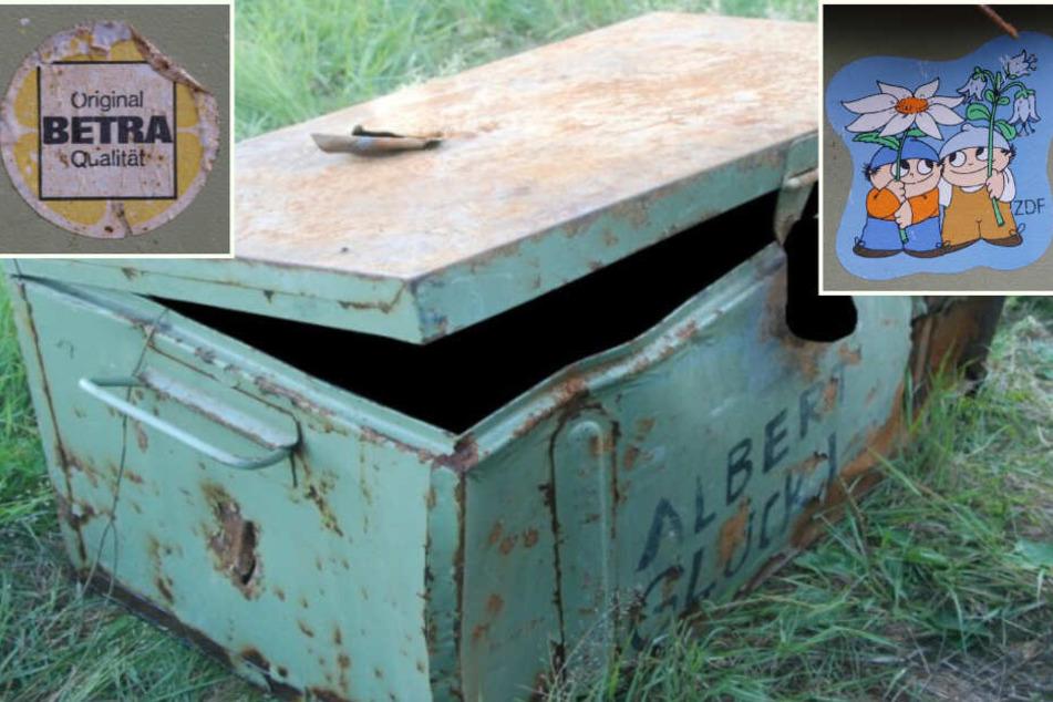 In dieser Metallkiste wurde die Leiche gefunden. Die beiden Abbildungen befanden sich als Aufkleber auf der Innenseite des Deckels.