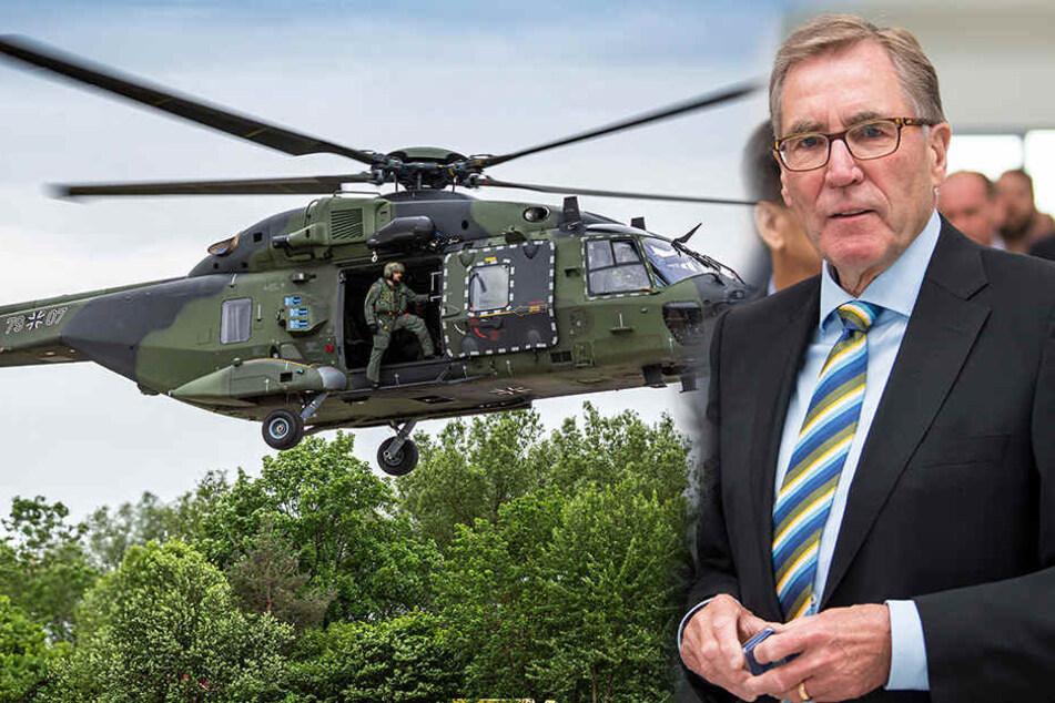 """Solche Hubschrauber der """"NH90""""-Flotte werden bald in Dresden gewartet. Das freut EFW-Geschäftsführer Andreas Sperl (72)."""