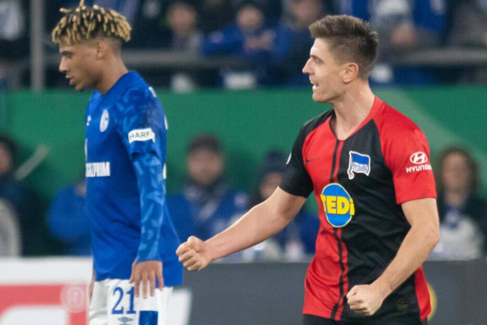 Krzysztof Piatek jubelt über seinen ersten Treffer für Hertha BSC.