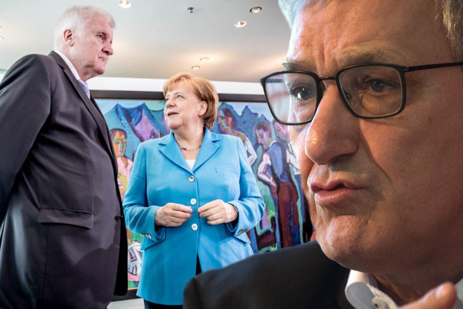 Riexinger sieht keine Lösung im Asylstreit und sieht den Sturz Merkels als beschlossene Sache. (Bildmontage)