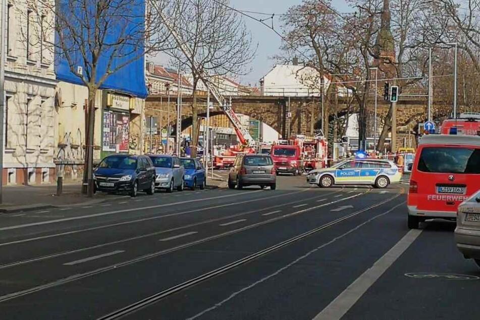 Die Wurzner Straße ist für den Verkehr gesperrt.