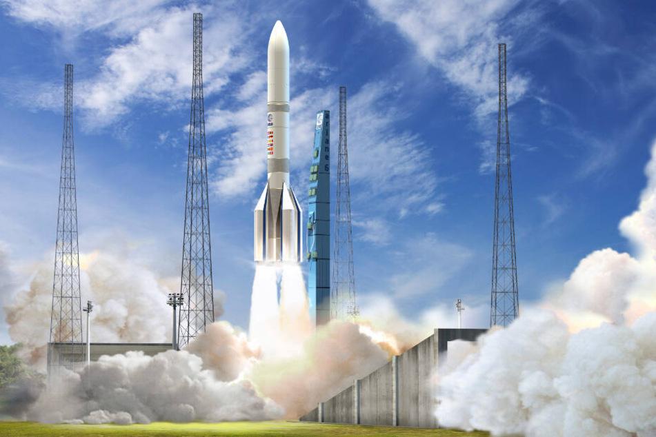 So soll es einmal aussehen, wenn die Ariane 6 startet. (Visualisierung)