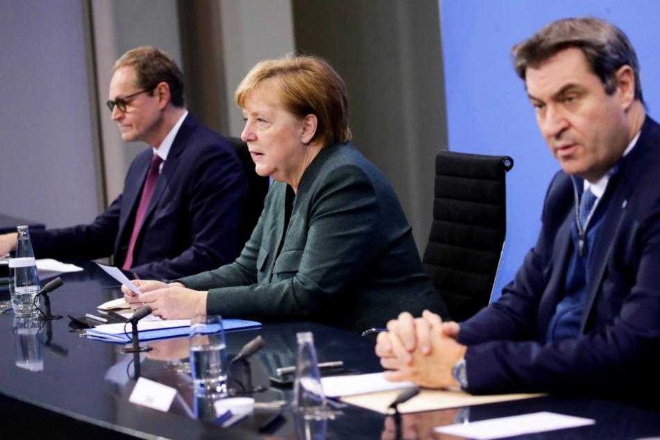 Bundeskanzlerin Angela Merkel (66, CDU), Berlins Regierender Bürgermeister Michael Müller (55, SPD) und der CSU-Vorsitzende Markus Söder (53) geben am Abend die Pressekonferenz im Bundeskanzleramt.