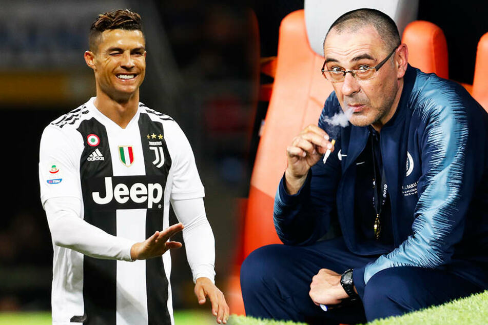 Maurizio Sarri (r.) wird im nächsten Jahr unter anderem Cristiano Ronaldo trainieren. (Bildmontage)