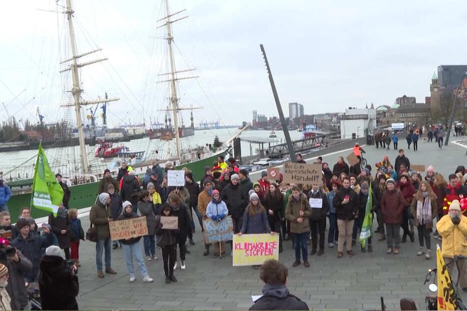 Zwischen 100 und 300 Menschen kamen zur Fridays for Future-Demonstration an den Hamburger Hafen.